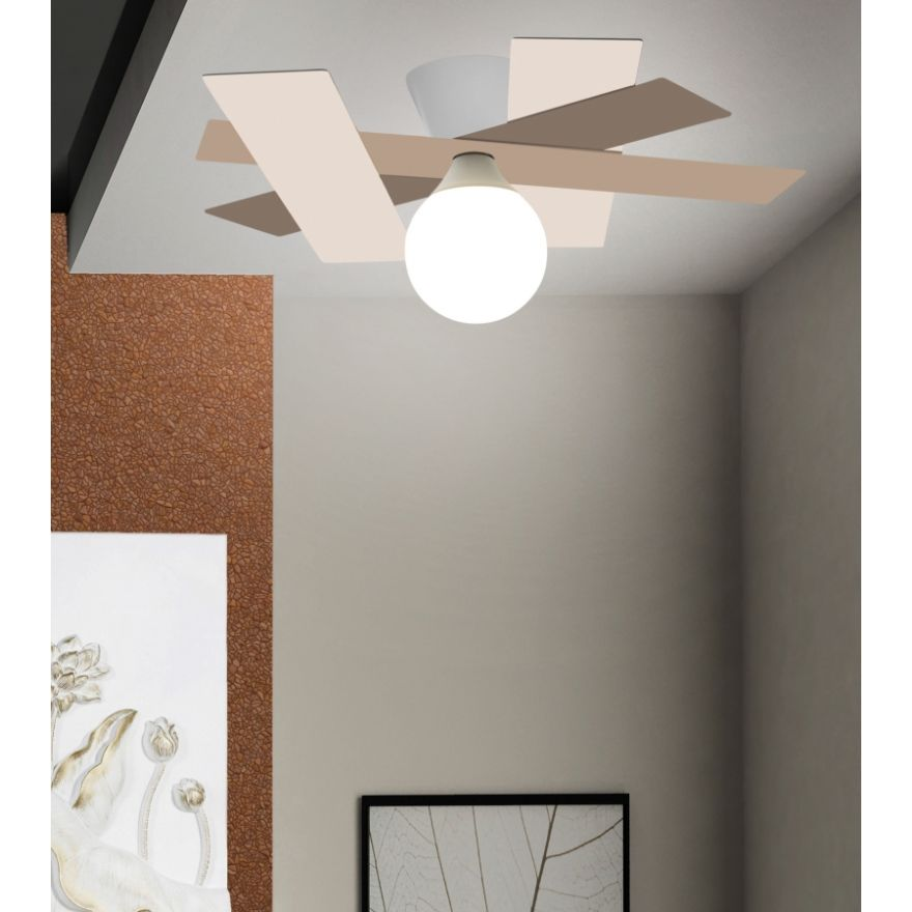 wand und deckenleuchte rail wei beige gro von gibas. Black Bedroom Furniture Sets. Home Design Ideas